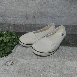 white canvas CROC sneakers size 8